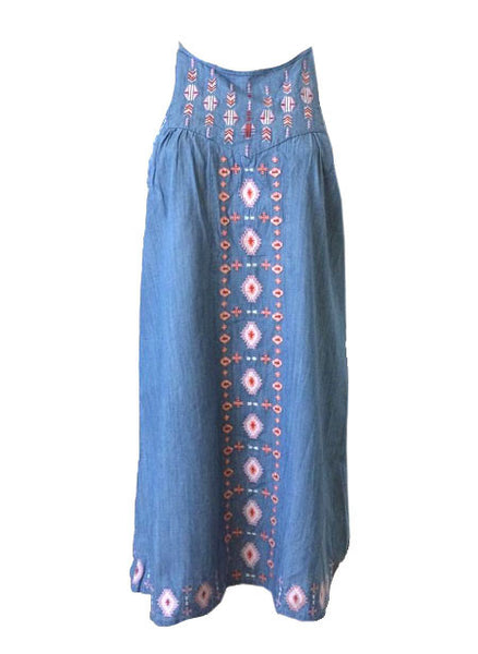 Embroidered Denim Halter Dress