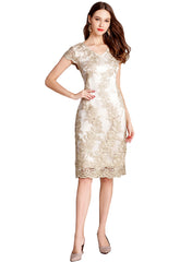 Gold Glitter Embroidered Sheath Midi Dress
