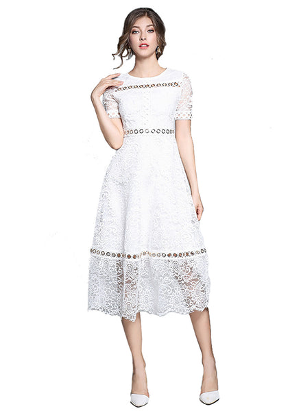 Short Sleeve Sheer Lace Maxi Dress