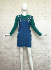 Frayed Hem Denim Pinafore Dress