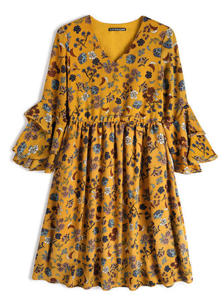 Floral Print V Neck Peasant Dress w Tiered Sleeve