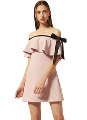 Off Shoulder Shift Dress w Tie Detail