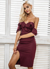 Ruffle Off Shoulder Slit Bodycon Midi Dress