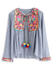 Lightweight Embroidered Swing Jacket