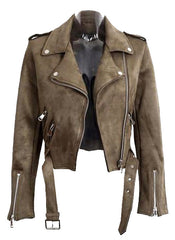 Suede Leather Effect Crop Biker Jacket