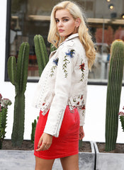 Floral Embroidered Studded Biker Jacket in Off White
