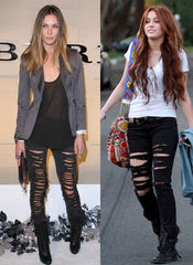 Destroyed Skinny Jeans in Black