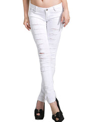 Destroyed Skinny Jeans in White