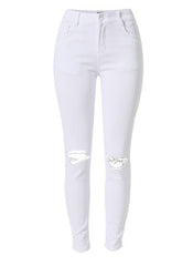 Rip Knee Skinny Jeans in White