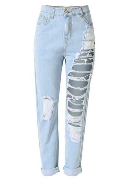 One Leg Ripped Boyfriend Jeans