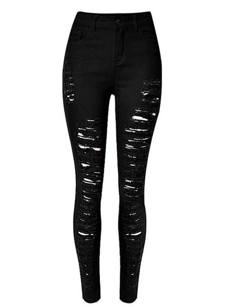 High Rise Skinny Shredded Jeans