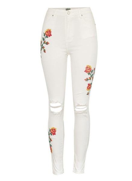 Embroidered Leg Skinny Jeans with Rip Knee
