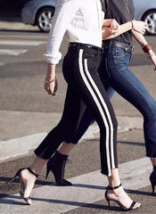 Crop Step Frayed Jeans with Side Stripes