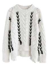 Lace-up Cable Knit Asymmetric Sweater