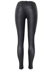 Faux Leather Zip Skinny Pants