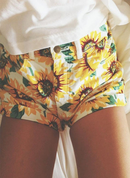 High-waisted Sunflower Print Shorts