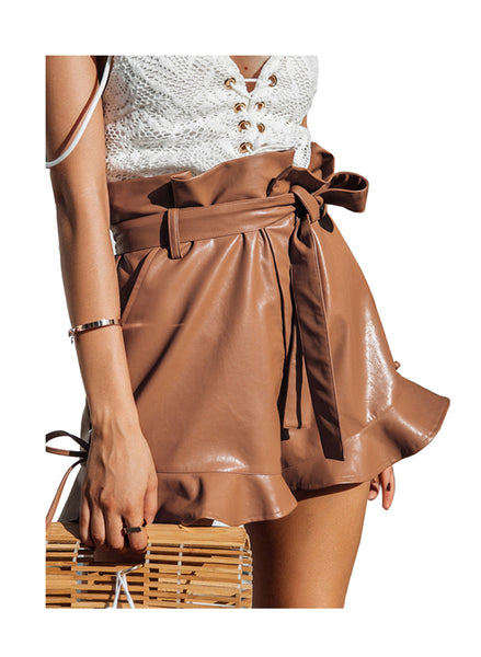 Paper-Bag Waist Ruffle Faux Leather Shorts