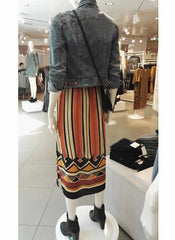 Tribal Print Stripe Slit Skirt