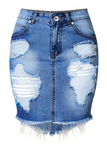 Frayed Ripped Denim Skirt