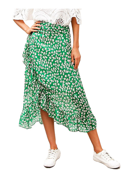 Wrap-effect Floral Ruffle Midi Skirt in Green