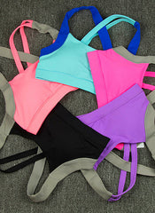 Two-tone Criss Cross Sports Bra