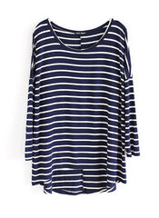 Asymmetrical Striped Long Sleeve T-shirt