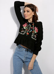 Garden Floral Embroidered Ruffled Blouse