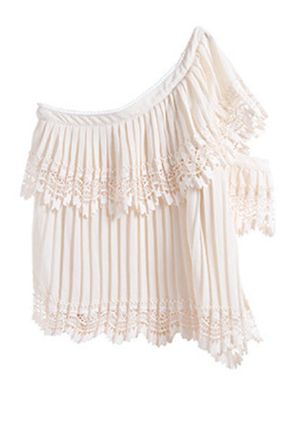 One Shoulder Pleated Embroidered Top