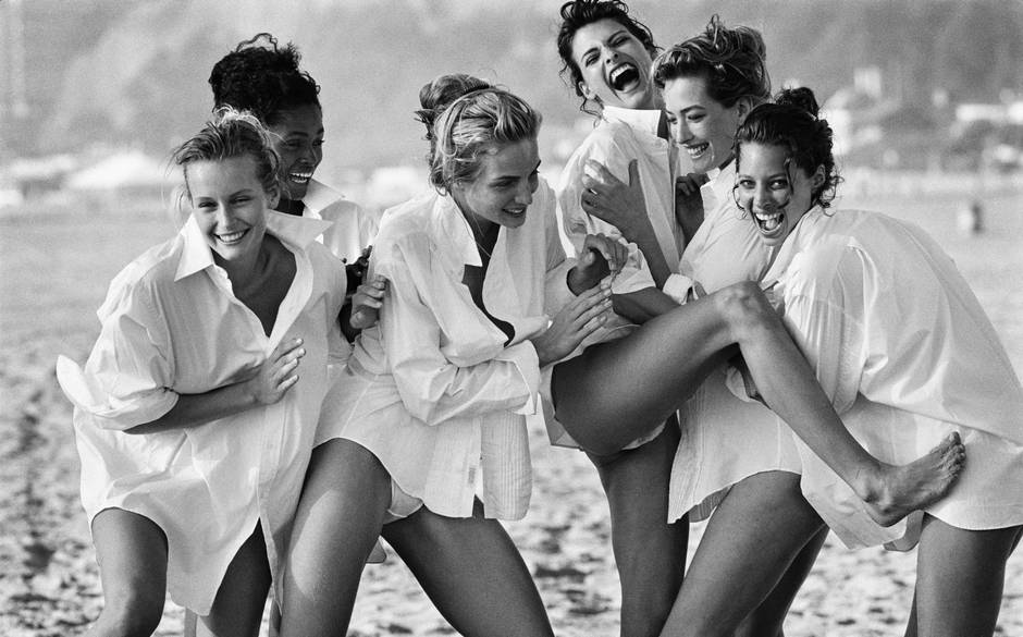 Linda Evangelista, Christy Turlington and friends in Lindbergh's shot taken for Vogue in 1988