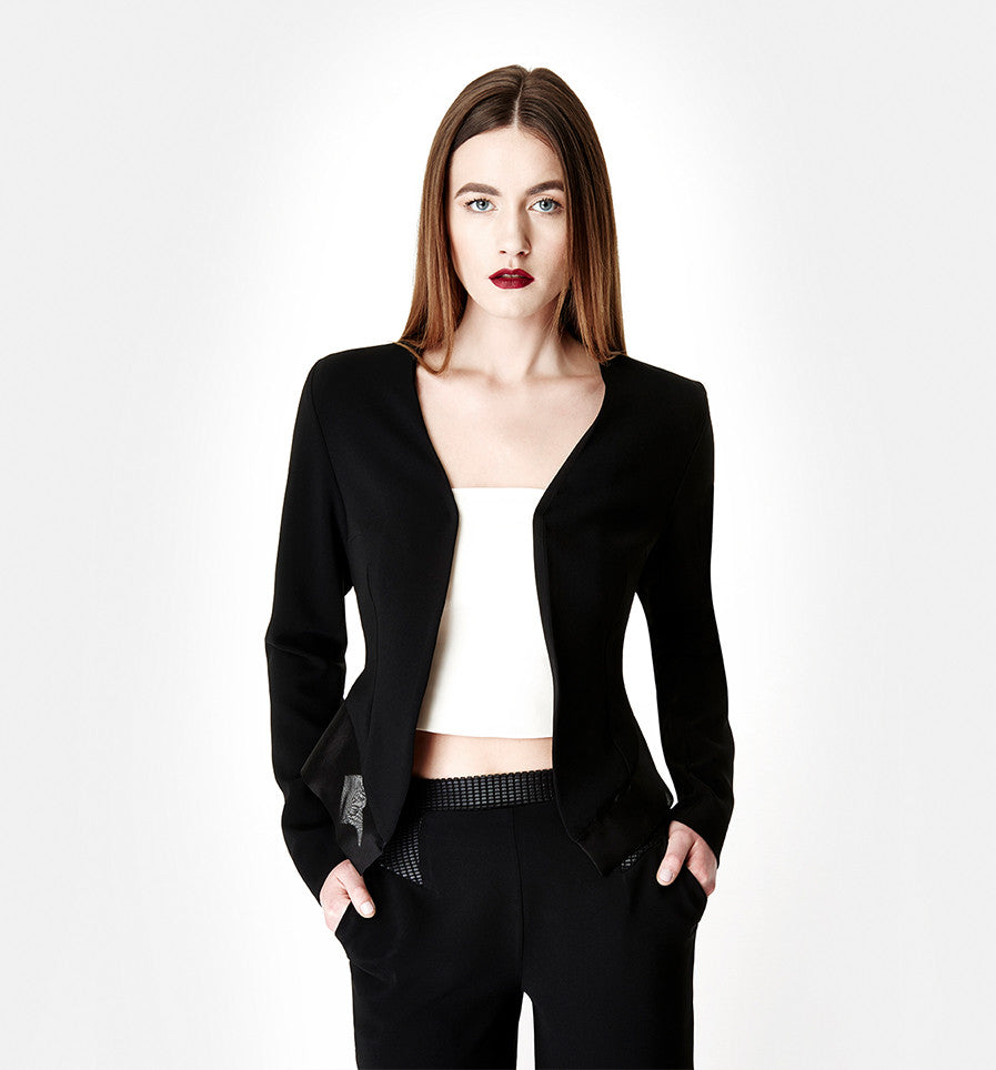 Night Rider Black Crepe Jacket