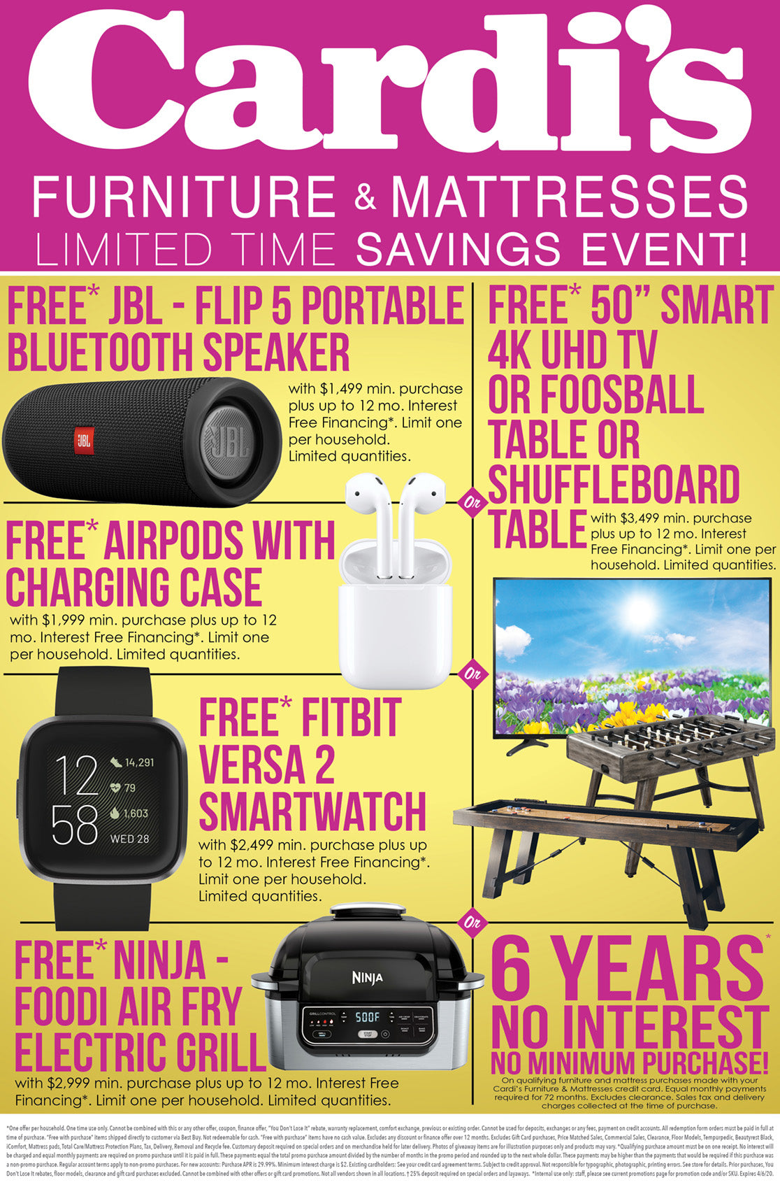 Free* Bluetooth Speaker or AirPods or FitBit or Air Fryer or 50 Inch 4k UHD TV or Foosball Table or Shuffleboard Table with minimum purchase... or 6 Years No Interest