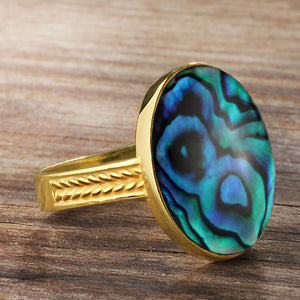 Abalone Ring Men's in 10k Yellow Gold, Statement Ring for Men with Natural Blue Abalone - J  F  M