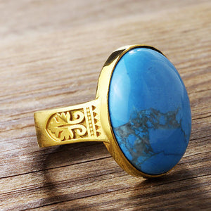 Men's Turquoise Ring in 10k Yellow Gold, Natural Blue Stone Artdeco Ring for Men - J  F  M