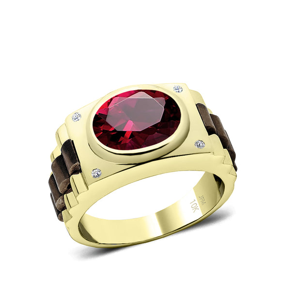 Male Engagement Ring in Solid Gold 0.08ct Natural Diamonds and Oval Ruby 5 Stone Men's Band