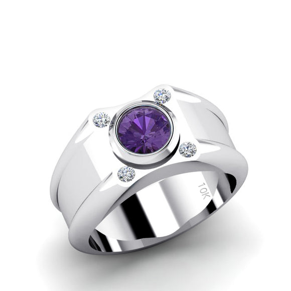 Amethyst Signet Ring 4 GENUINE DIAMONDS in 10K White Gold Aquarius Jewelry Gift for Him