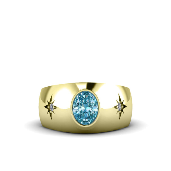 Men's Diamond Ring Yellow Gold-Plated Silver with Aquamarine Gemstone Engagement Ring
