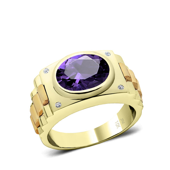Amethyst Wedding Band SOLID Yellow Gold and Natural Diamonds Unique Ring for Man