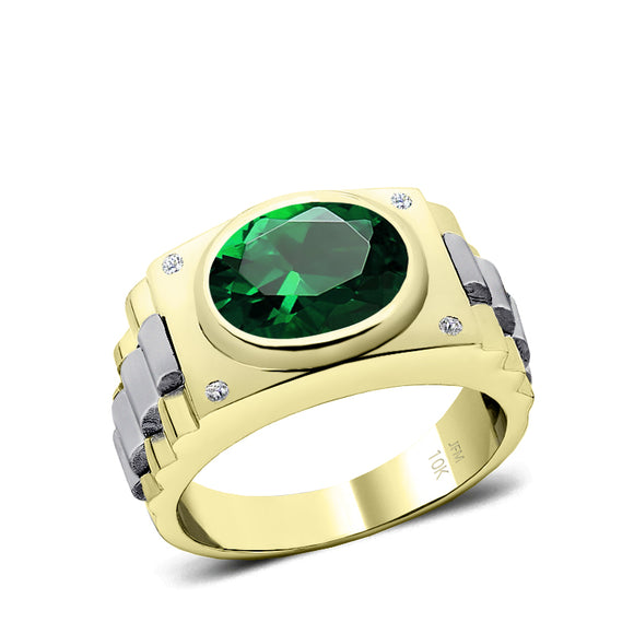 Wedding Ring for Man Diamond Birthstone Band with 4.50ct Green Emerald Gentleman Classic Jewelry