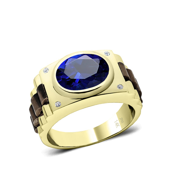 Blue Gemstone Men's Ring in 14k Yellow Gold with 0.08ct Natural Diamonds Accented 5 Stone Band