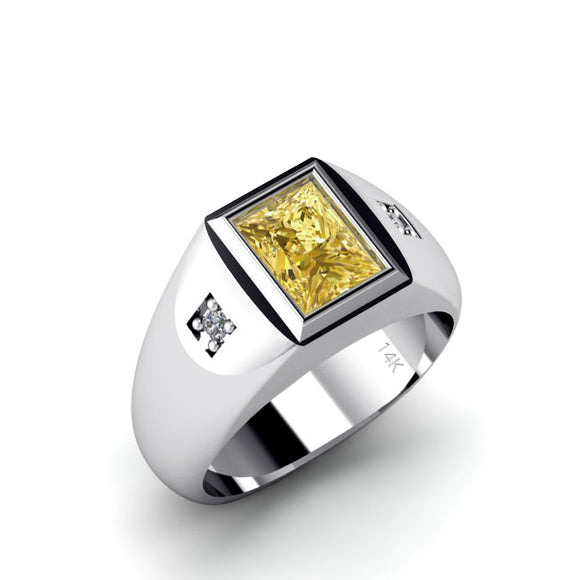 Men's Diamond Pinky Ring SOLID 14K White Gold Band with 2.40ct Yellow Citrine Gemstone Gift for Him