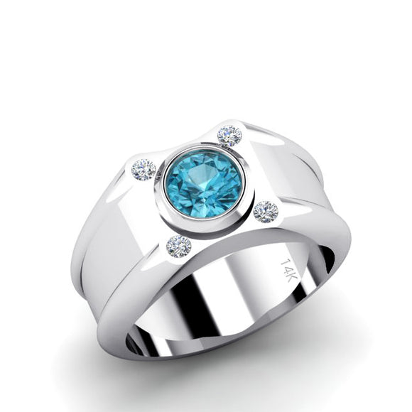 Topaz Male Ring Solid 14k White Gold with 0.12ct Natural Diamonds Birthstone Ring for Man
