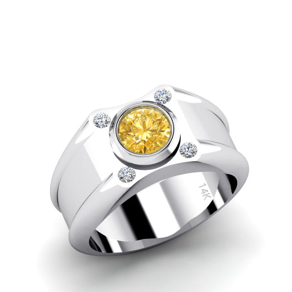Diamond Pinky Ring in 14K White Gold with 1.70ct Bezel Set Round Citrine Solid Engrave Band