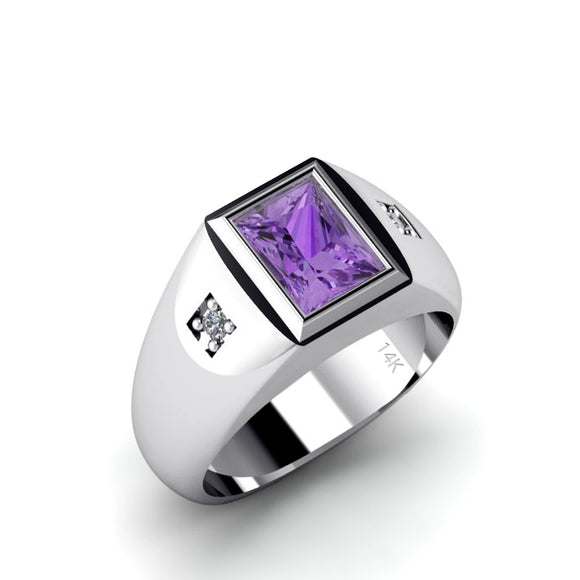 Men's Ring 14K White Gold Engraved Band 2 Genuine Diamonds and Amethyst Customized Jewelry