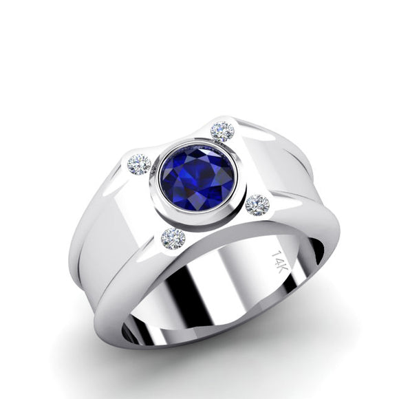 Solid Gemstone Band with 0.12ct Natural Diamonds 14k White Gold Men's Ring with Blue Sapphire