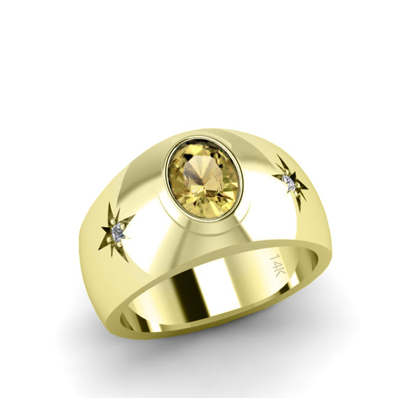 2.40 ct Yellow Citrine Ring for Man in Solid 14K Gold with Diamonds 3 stone Statement Ring