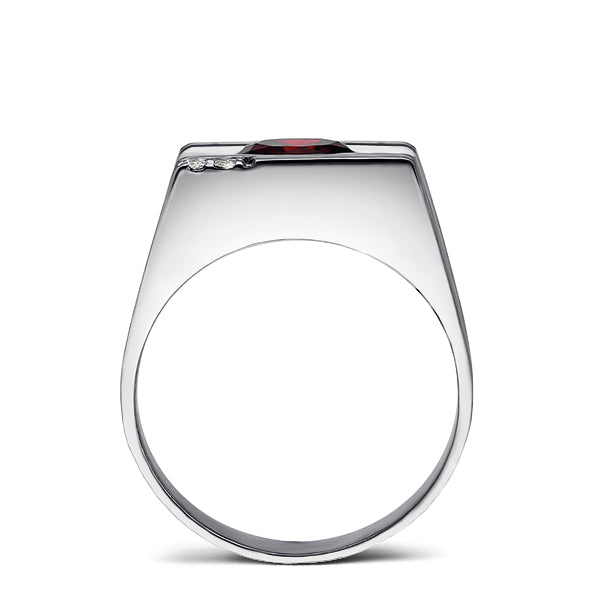 Solid 14K White GOLD Mens Ring with Red Ruby and 2 DIAMOND Accents