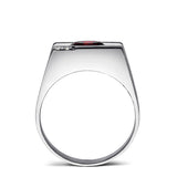 Mens Ring Red Ruby GEMSTONE and 2 DIAMONDS in Solid 925 Sterling Silver All Sz