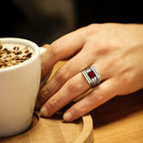 Solid 10K White GOLD Mens Ring REAL with Red Ruby and DIAMONDS Accents