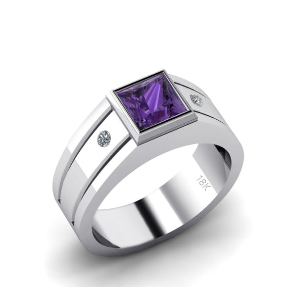 Wedding Ring for Man High Polished 18K White Gold with Square Amethyst Stone and Diamonds