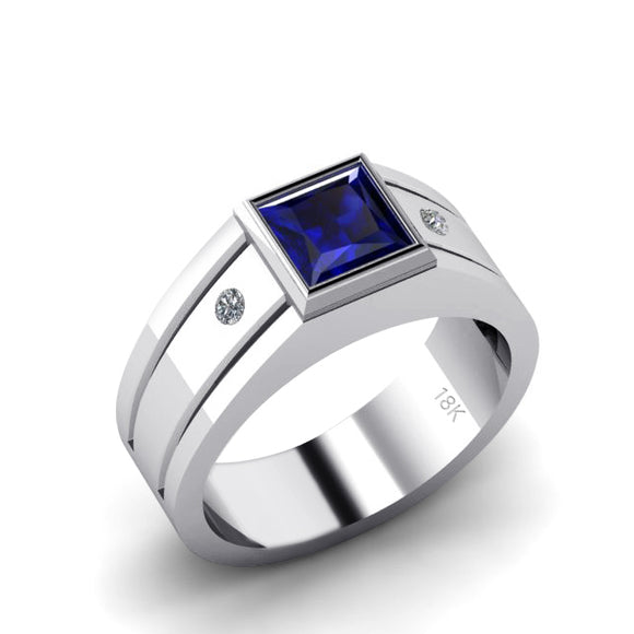 Sapphire Jewelry for Man SOLID 18K White Gold with Natural Diamonds Virgo Birthstone Ring